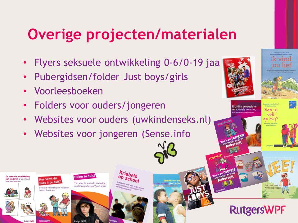 Overige projecten/materialen Flyers seksuele ontwikkeling 0-6/0-19 jaa Pubergidsen/folder Just boys/girls Voorleesboeken Folders voor ouders/jongeren