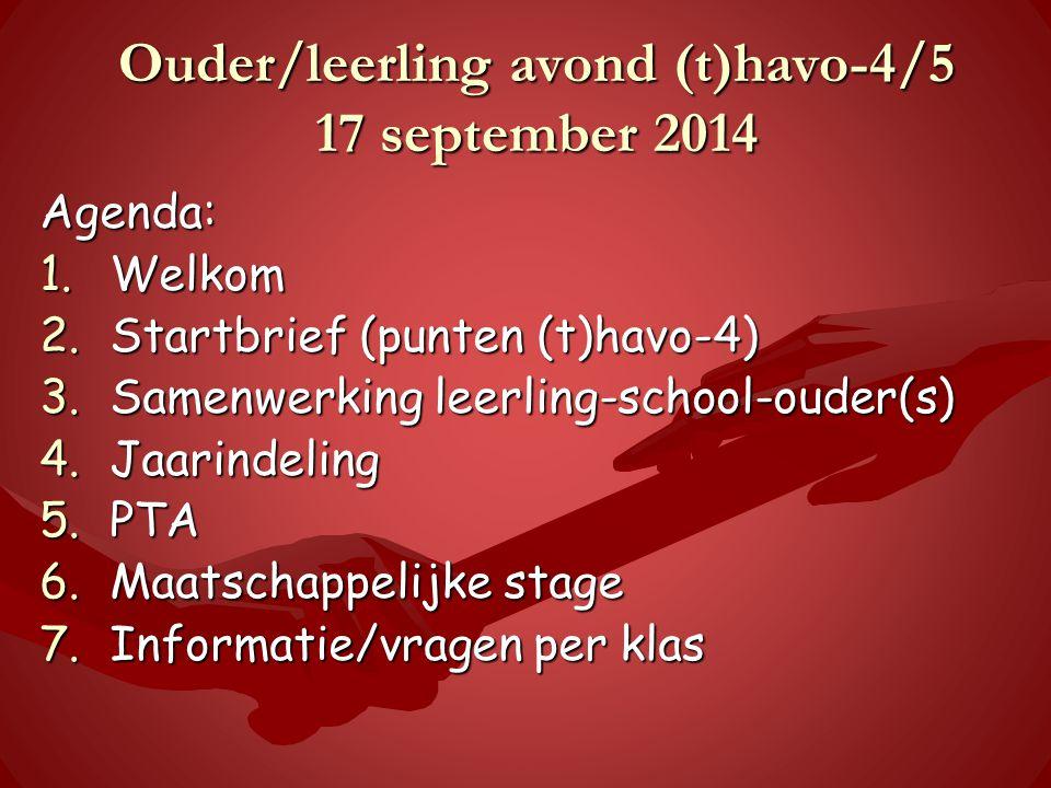 Ouder/leerling avond (t)havo-4/5 17 september 2014 Agenda: 1.Welkom 2.Startbrief (punten (t)havo-4) 3.Samenwerking leerling-school-ouder(s) 4.Jaarindeling 5.PTA 6.Maatschappelijke stage 7.Informatie/vragen per klas