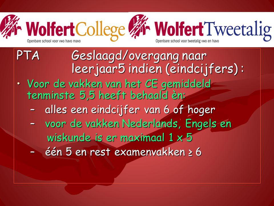 PTA Geslaagd/overgang naar leerjaar5 indien (eindcijfers) : Voor de vakken van het CE gemiddeld tenminste 5,5 heeft behaald èn:Voor de vakken van het CE gemiddeld tenminste 5,5 heeft behaald èn: – alles een eindcijfer van 6 of hoger – voor de vakken Nederlands, Engels en wiskunde is er maximaal 1 x 5 wiskunde is er maximaal 1 x 5 – één 5 en rest examenvakken ≥ 6
