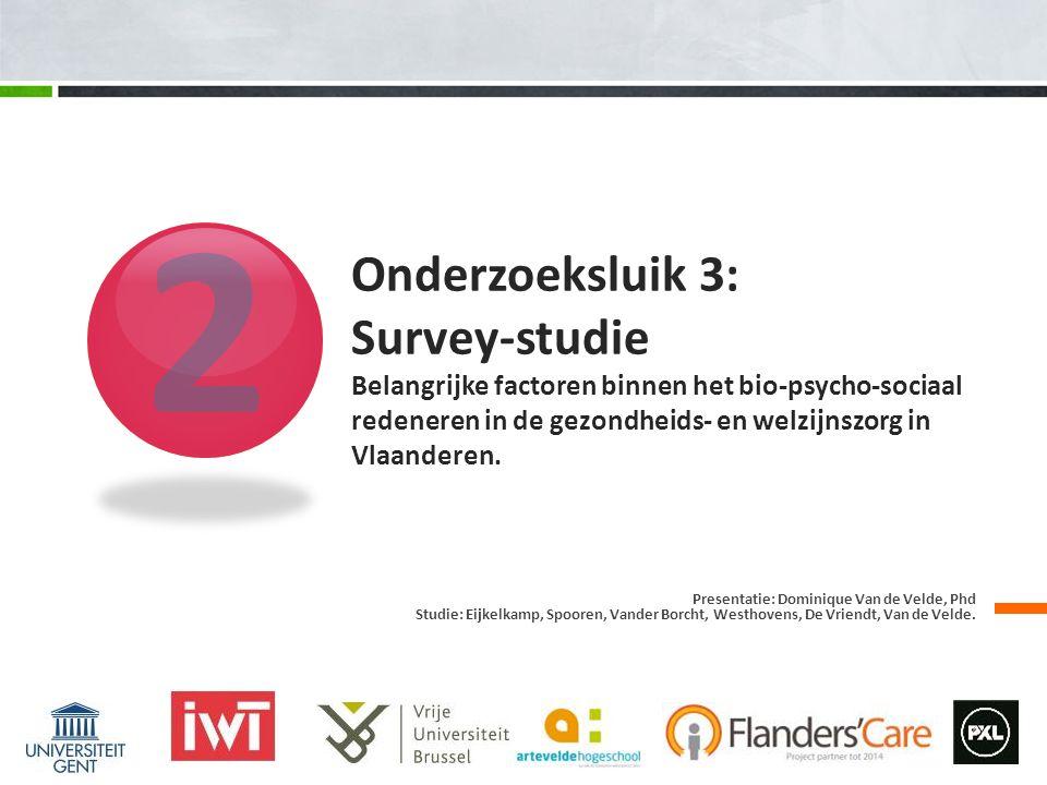 2 Presentatie: Dominique Van de Velde, Phd Studie: Eijkelkamp, Spooren, Vander Borcht, Westhovens, De Vriendt, Van de Velde.