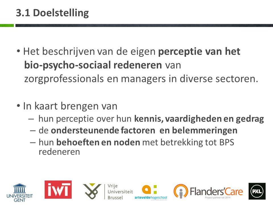 3.2 Methode – Survey-studie Respondenten: zorgprofessionals en managers Recrutering: netwerken uit gebruikersgroepen en, zorgnet Vlaanderen, BVGG, opleidingen.