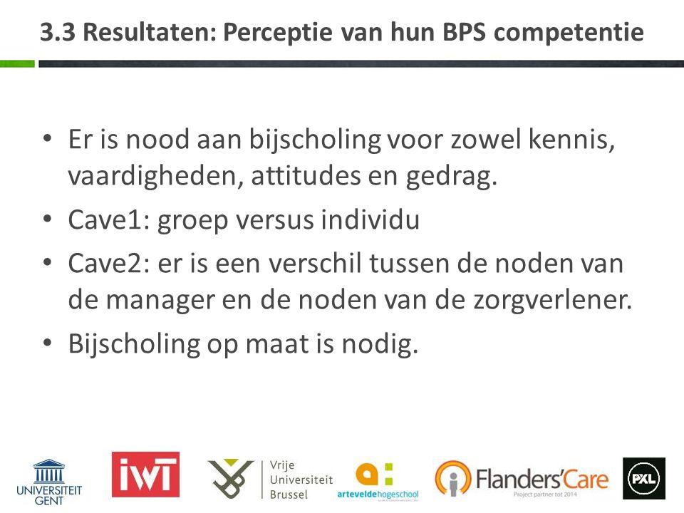 3.3 Resultaten: Perceptie van hun BPS competentie Er is nood aan bijscholing voor zowel kennis, vaardigheden, attitudes en gedrag.