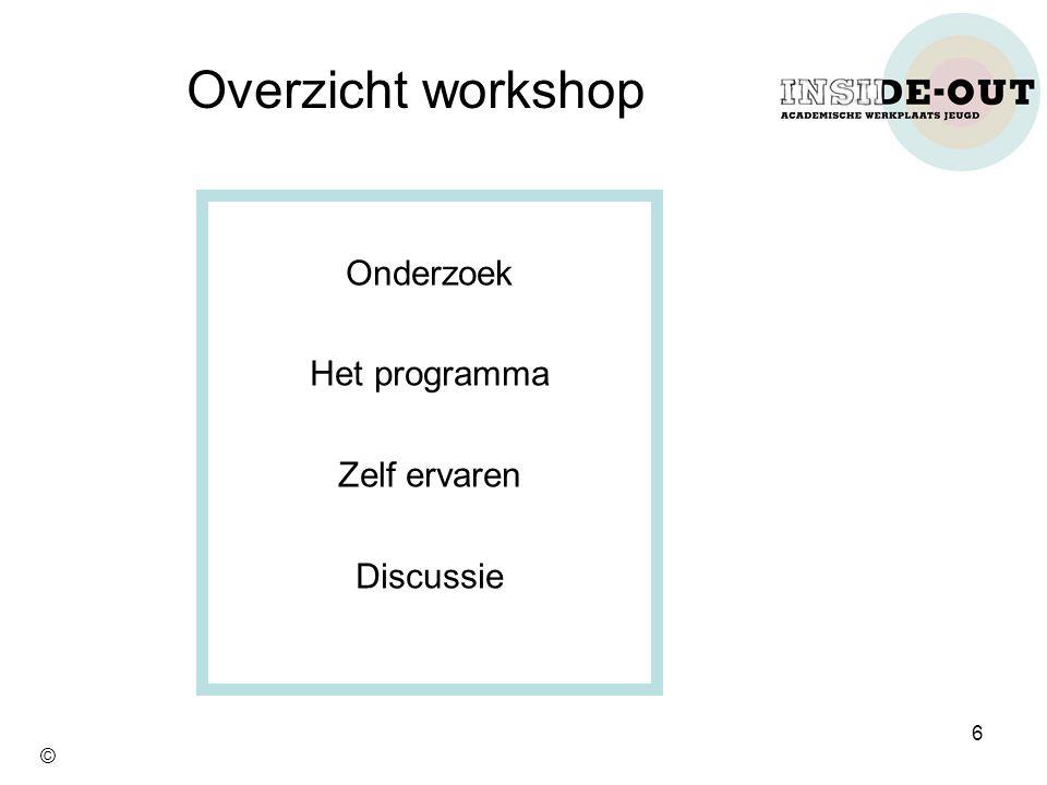 Onderzoek Het programma Zelf ervaren Discussie Overzicht workshop 6 ©