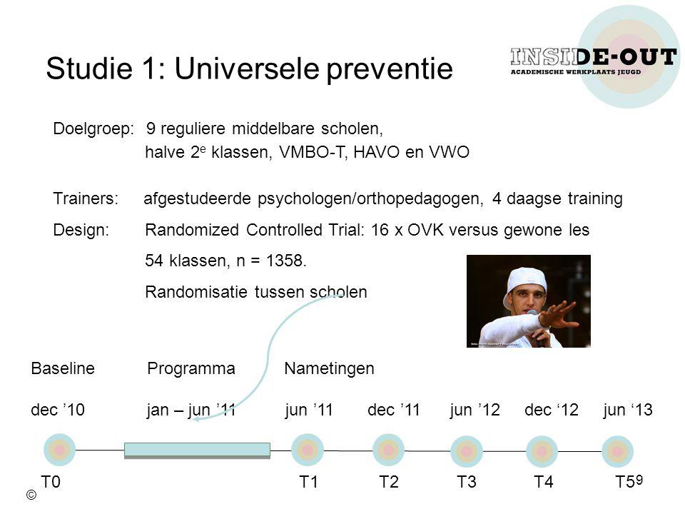 Studie 1: Universele preventie Doelgroep: 9 reguliere middelbare scholen, halve 2 e klassen, VMBO-T, HAVO en VWO Trainers: afgestudeerde psychologen/o