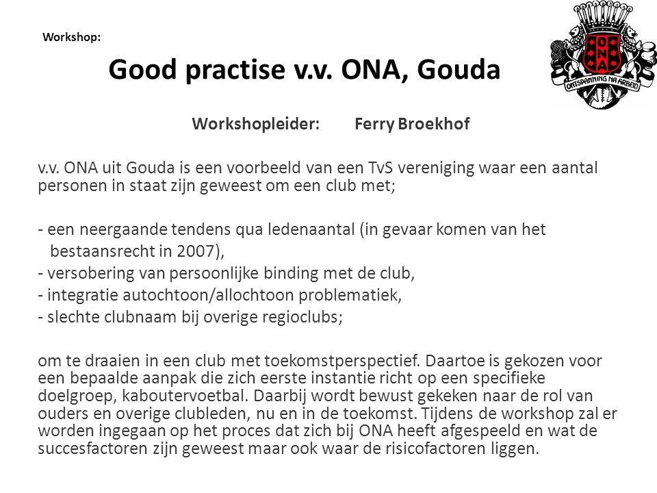 Workshop: Good practise v.v.ONA, Gouda Workshopleider: Ferry Broekhof v.v.