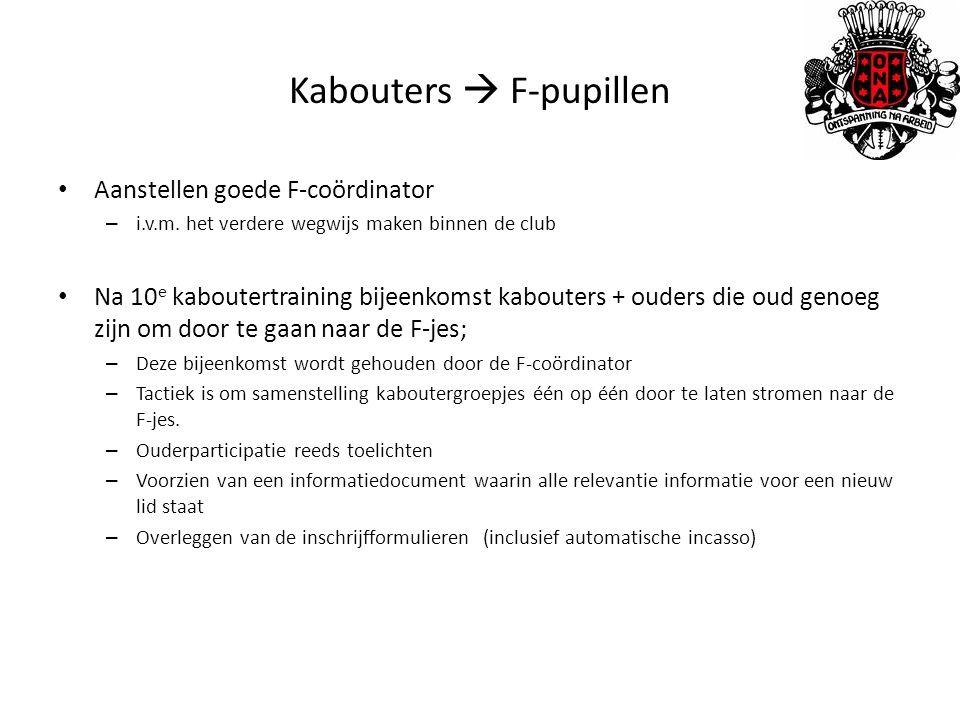 Kabouters  F-pupillen Aanstellen goede F-coördinator – i.v.m.