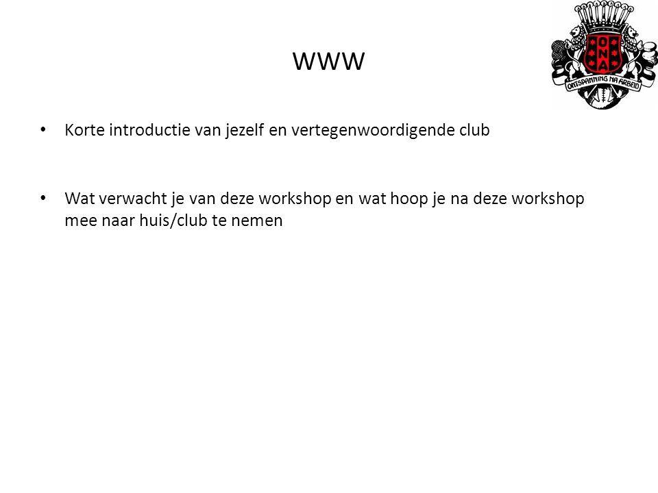 Korte introductie van jezelf en vertegenwoordigende club Wat verwacht je van deze workshop en wat hoop je na deze workshop mee naar huis/club te nemen WWW