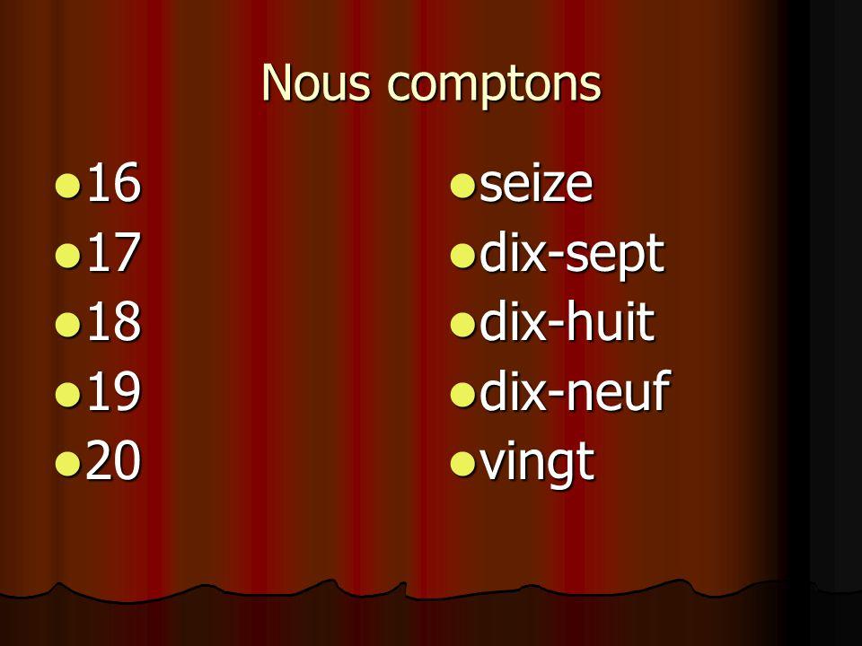 Zeg het getal in het Frans. 108 108 cent huit cent huit