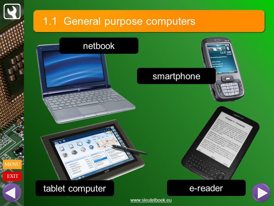 1.1 General purpose computers www.sleutelboek.eu tablet computer netbook e-reader smartphone