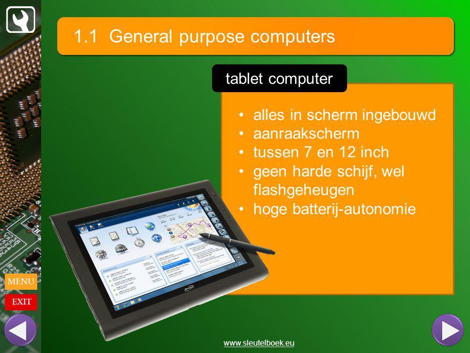 1.1 General purpose computers www.sleutelboek.eu alles in scherm ingebouwd aanraakscherm tussen 7 en 12 inch geen harde schijf, wel flashgeheugen hoge batterij-autonomie tablet computer