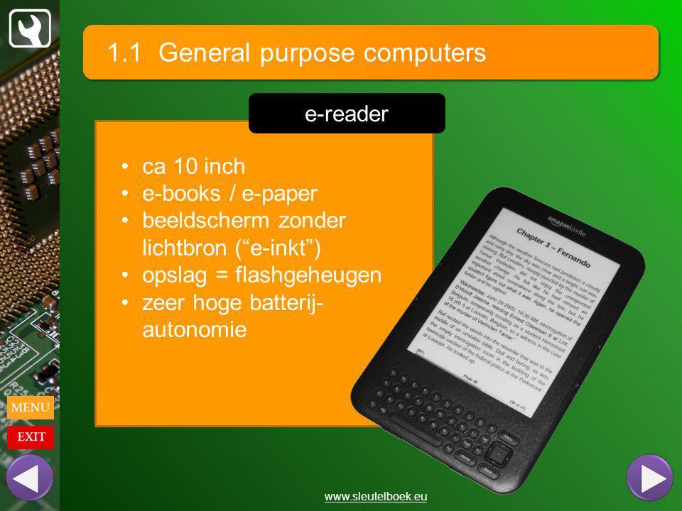 1.1 General purpose computers www.sleutelboek.eu ca 10 inch e-books / e-paper beeldscherm zonder lichtbron ( e-inkt ) opslag = flashgeheugen zeer hoge batterij- autonomie e-reader