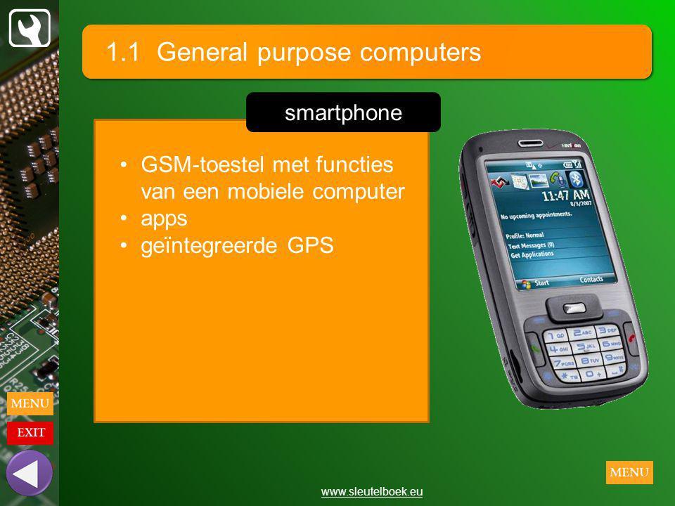 1.1 General purpose computers www.sleutelboek.eu GSM-toestel met functies van een mobiele computer apps geïntegreerde GPS smartphone