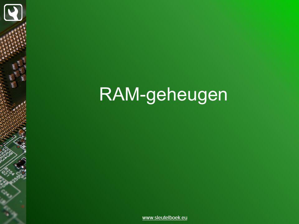 Kenmerken van RAM www.sleutelboek.eu Random Access Memory: willekeurig Refresh rate
