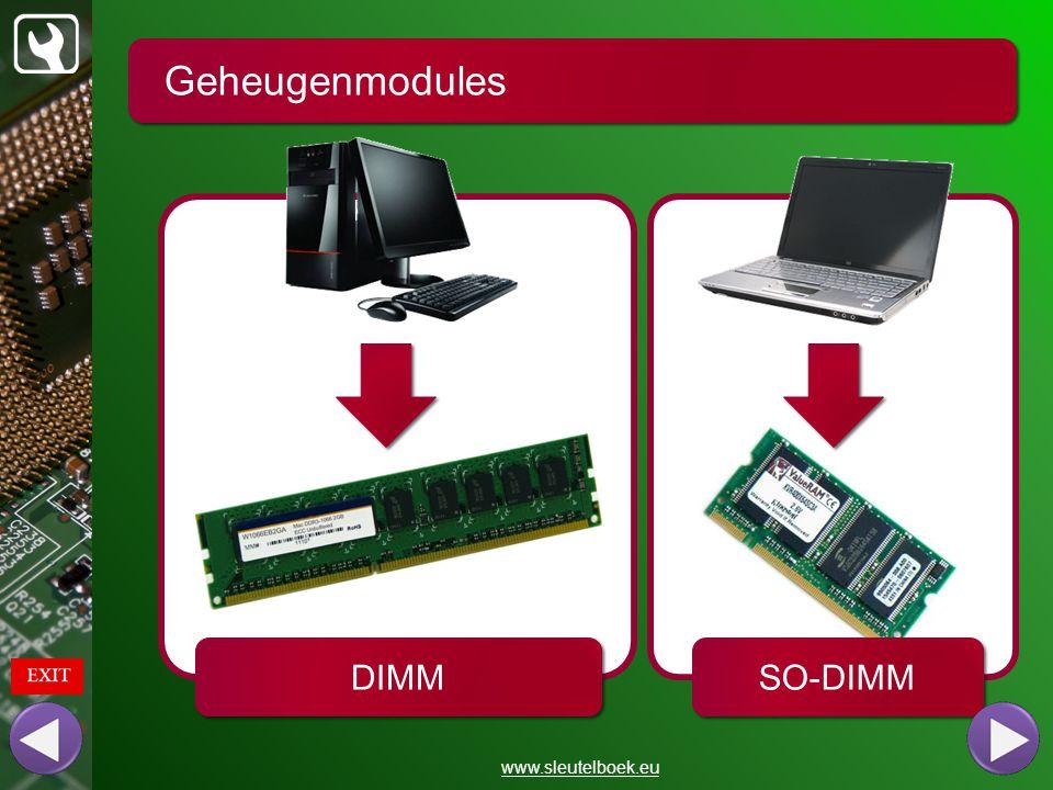 Geheugenmodules www.sleutelboek.eu capaciteit aantal geheugenchips typenummer generatie refresh rate geheugentyp e CAS-latency
