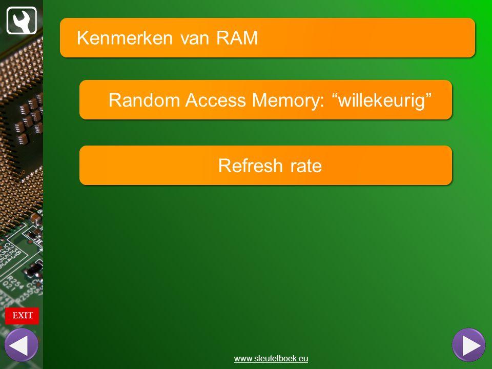 """Kenmerken van RAM www.sleutelboek.eu Random Access Memory: """"willekeurig"""" Refresh rate"""