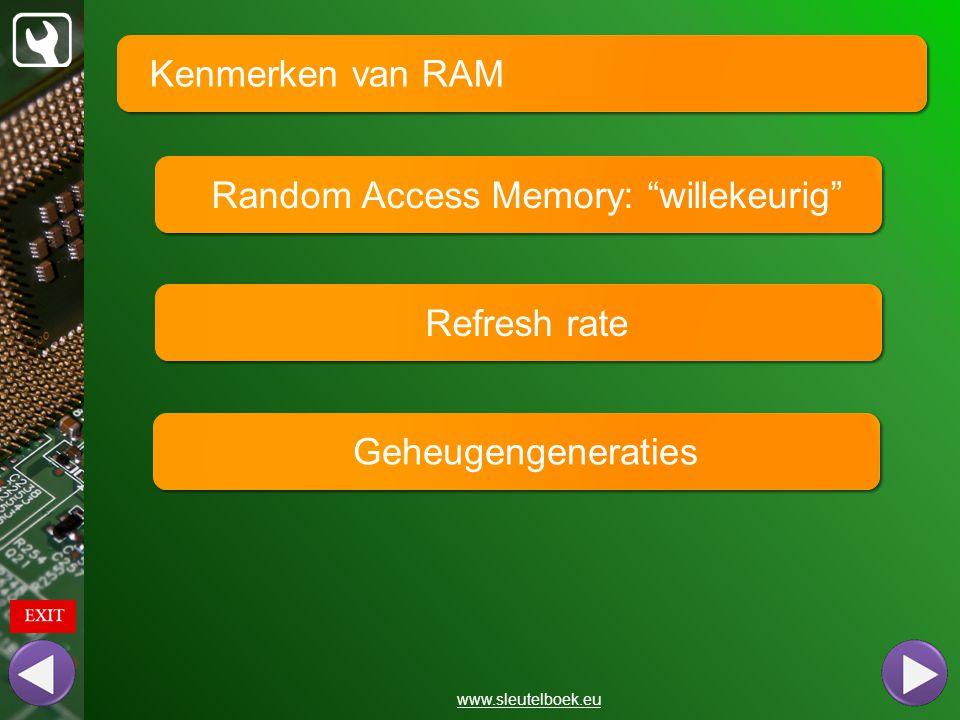 2 gegevens per klokpuls 4 gegevens per klokpuls 8 gegevens per klokpuls 1 gegeven per klokpuls Kenmerken van RAM www.sleutelboek.eu Geheugengeneraties SD-RAM DDR DDR2 DDR3 Verouderd