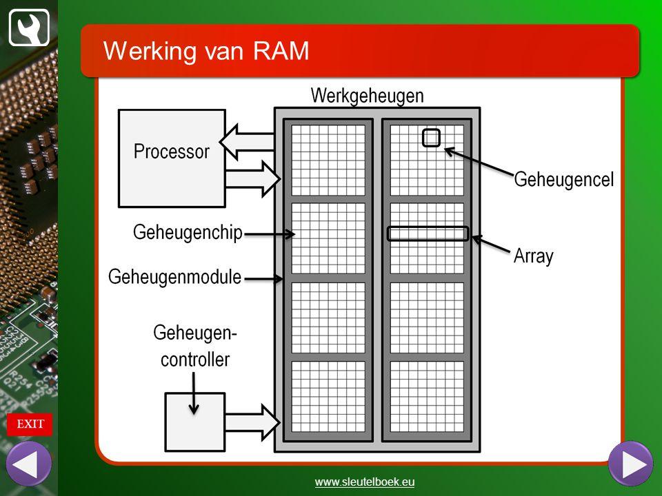 Werking van RAM www.sleutelboek.eu De processor plaatst het gewenste geheugenadres op de adresbus van de systeembus.