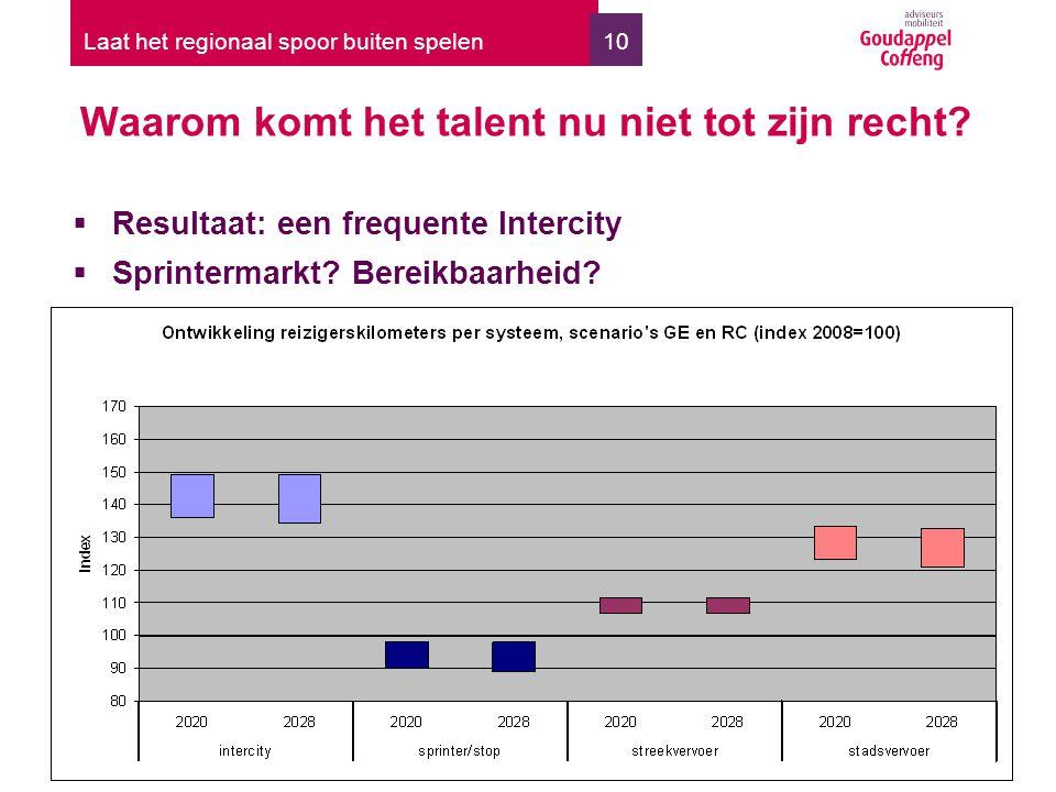 10 Waarom komt het talent nu niet tot zijn recht? Laat het regionaal spoor buiten spelen  Resultaat: een frequente Intercity  Sprintermarkt? Bereikb
