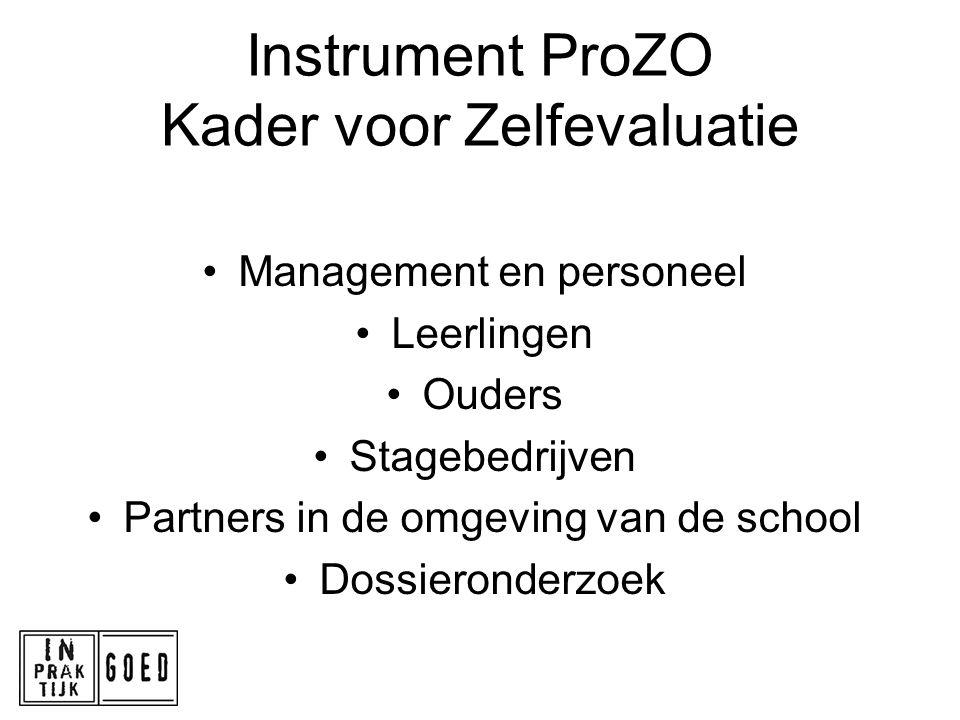 Instrument ProZO Kader voor Zelfevaluatie Management en personeel Leerlingen Ouders Stagebedrijven Partners in de omgeving van de school Dossieronderz