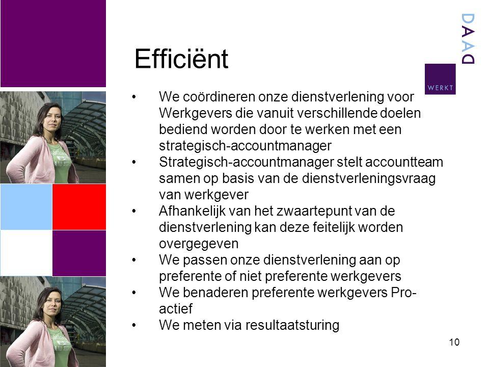 Efficiënt 10 We coördineren onze dienstverlening voor Werkgevers die vanuit verschillende doelen bediend worden door te werken met een strategisch-acc