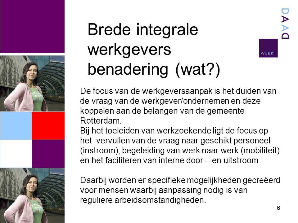 6 Brede integrale werkgevers benadering (wat ) De focus van de werkgeversaanpak is het duiden van de vraag van de werkgever/ondernemen en deze koppelen aan de belangen van de gemeente Rotterdam.