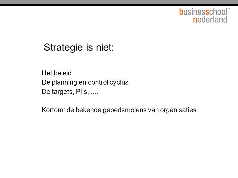 Strategie is niet: Het beleid De planning en control cyclus De targets, PI's,.... Kortom: de bekende gebedsmolens van organisaties
