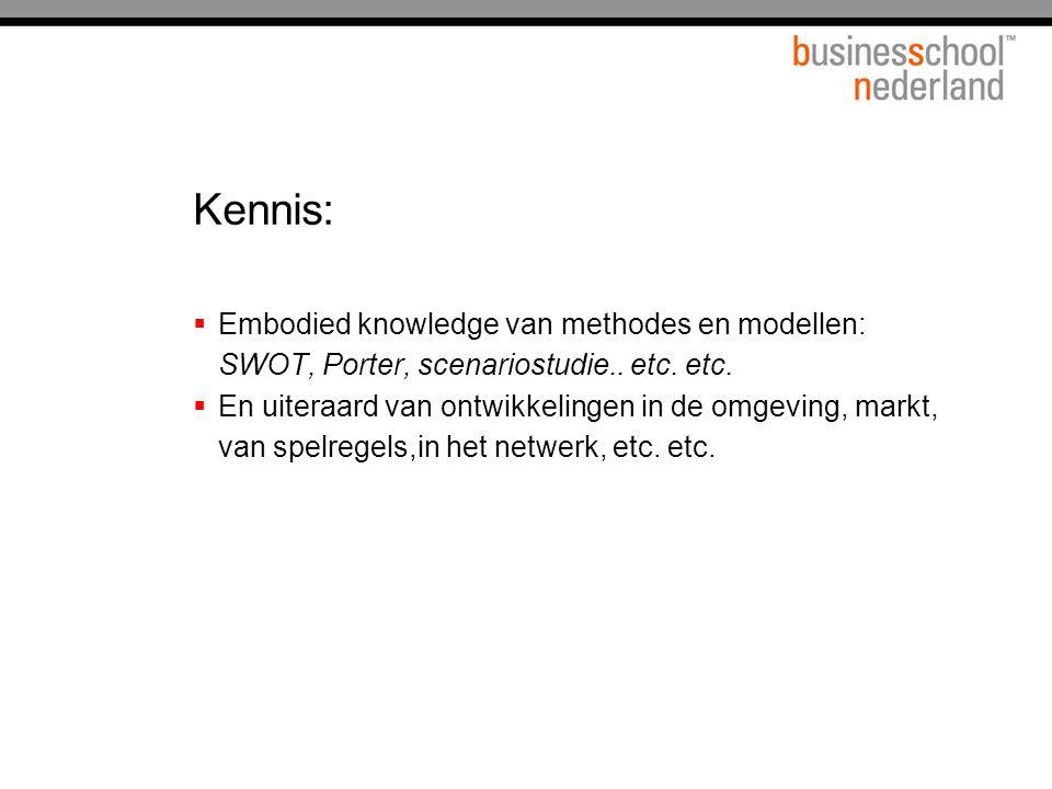 Kennis:  Embodied knowledge van methodes en modellen: SWOT, Porter, scenariostudie.. etc. etc.  En uiteraard van ontwikkelingen in de omgeving, mark