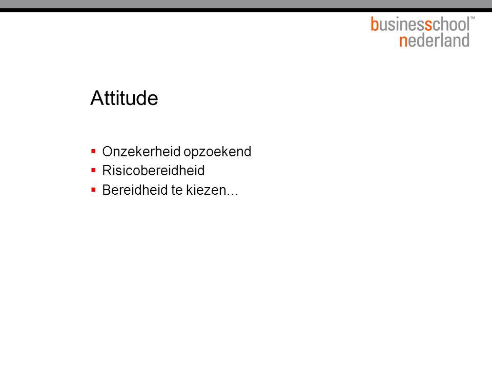 Attitude  Onzekerheid opzoekend  Risicobereidheid  Bereidheid te kiezen...