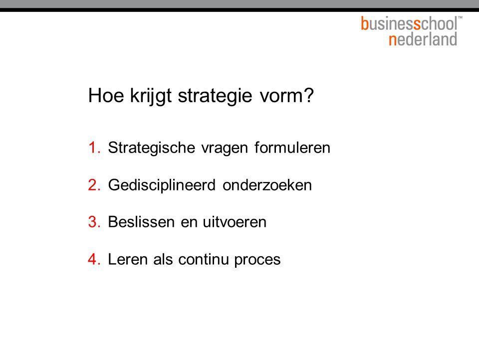 Hoe krijgt strategie vorm? 1.Strategische vragen formuleren 2.Gedisciplineerd onderzoeken 3.Beslissen en uitvoeren 4.Leren als continu proces