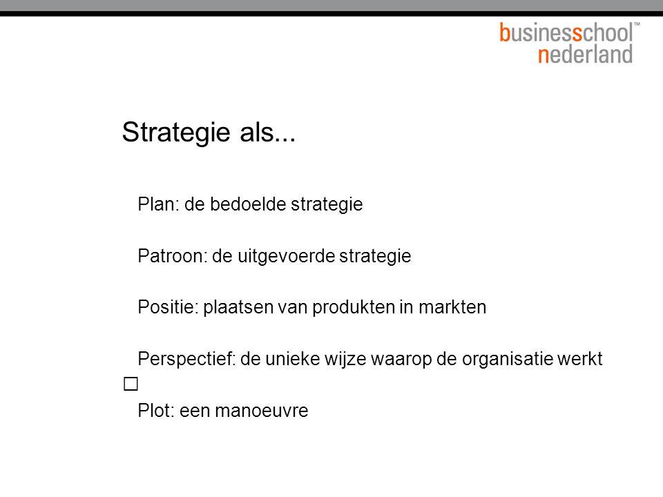 Strategie als... Plan: de bedoelde strategie Patroon: de uitgevoerde strategie Positie: plaatsen van produkten in markten Perspectief: de unieke wijze