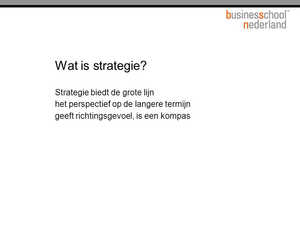 Wat is strategie? Strategie biedt de grote lijn het perspectief op de langere termijn geeft richtingsgevoel, is een kompas