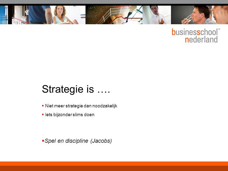 Strategie is ….  Niet meer strategie dan noodzakelijk  Iets bijzonder slims doen  Spel en discipline (Jacobs)