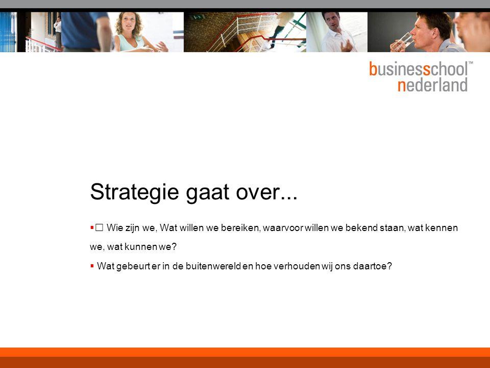 Bedrijfsmiddelen Ingezet om kansen te benutten Elke inzet is een keuze En een beperking in het verkennend vermogen van de onderneming  Strategie in een snel veranderende markt