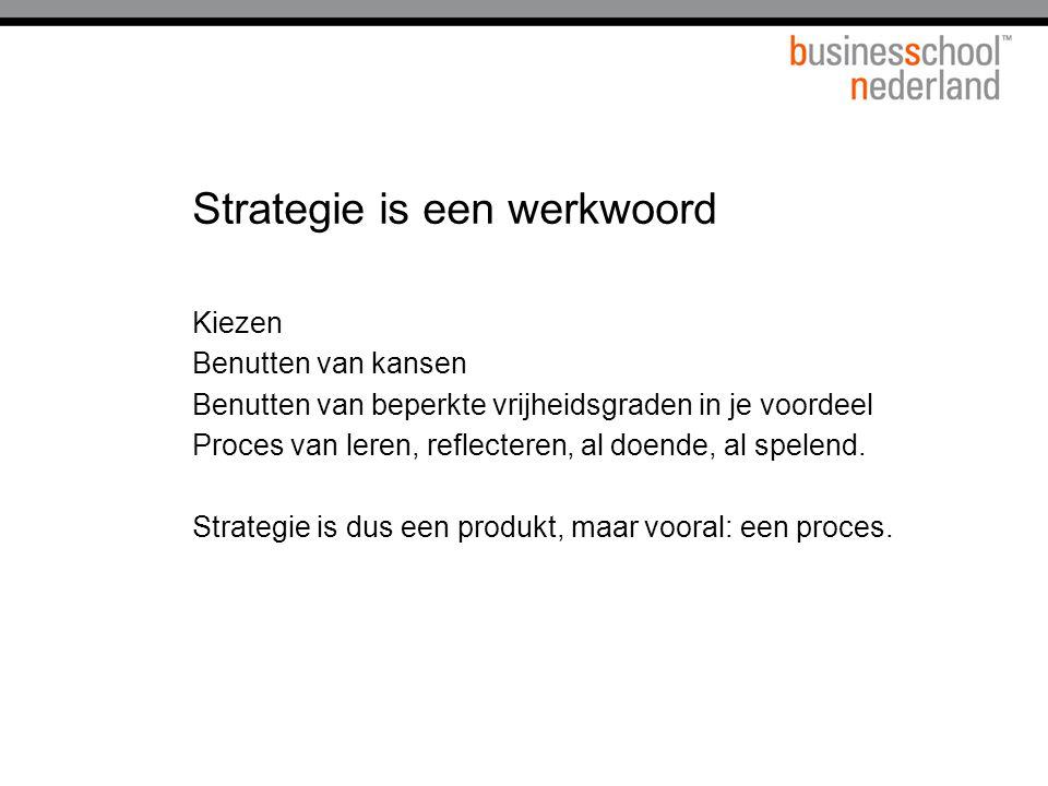 Strategisch profiel Missie Doelstellingen Markt of werkterrein Doelgroepen Produkten, diensten Distributie etc..