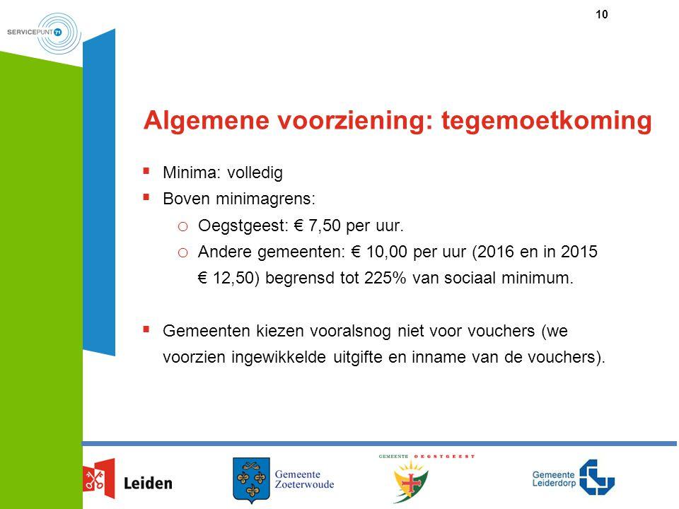 Algemene voorziening: tegemoetkoming 10  Minima: volledig  Boven minimagrens: o Oegstgeest: € 7,50 per uur. o Andere gemeenten: € 10,00 per uur (201