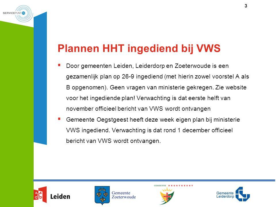 Plannen HHT ingediend bij VWS  Door gemeenten Leiden, Leiderdorp en Zoeterwoude is een gezamenlijk plan op 26-9 ingediend (met hierin zowel voorstel