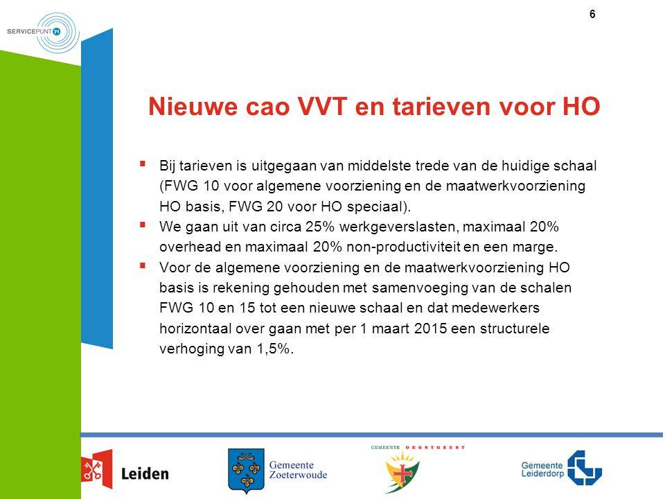 Nieuwe cao VVT en tarieven voor HO  Bij tarieven is uitgegaan van middelste trede van de huidige schaal (FWG 10 voor algemene voorziening en de maatw
