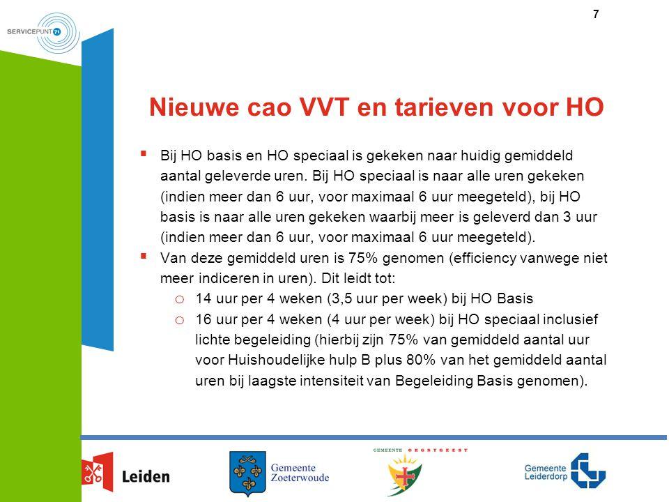 Nieuwe cao VVT en tarieven voor HO  Bij HO basis en HO speciaal is gekeken naar huidig gemiddeld aantal geleverde uren. Bij HO speciaal is naar alle
