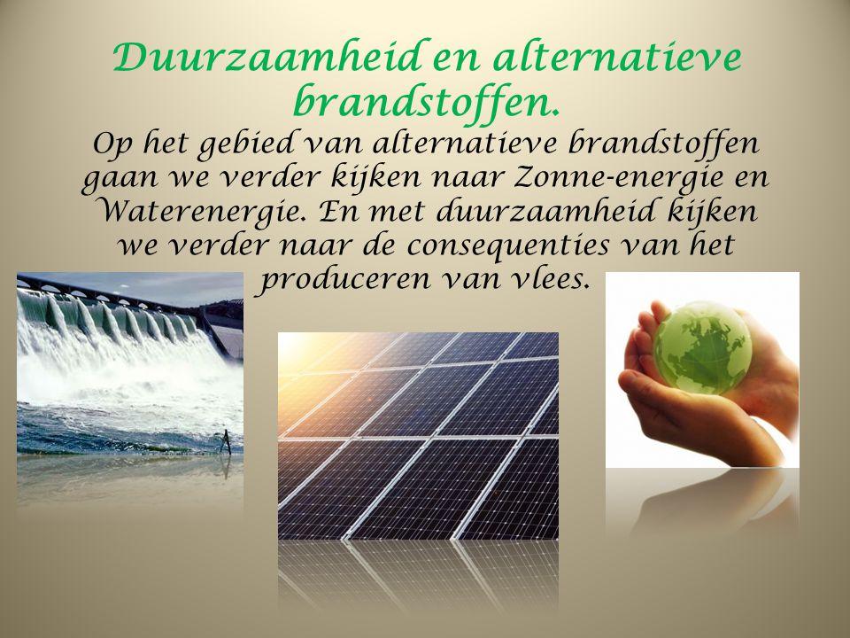 Duurzaamheid en alternatieve brandstoffen. Op het gebied van alternatieve brandstoffen gaan we verder kijken naar Zonne-energie en Waterenergie. En me