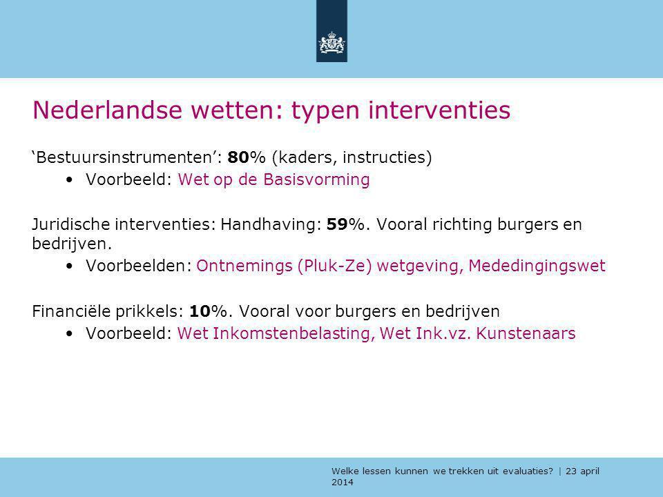 Welke lessen kunnen we trekken uit evaluaties? | 23 april 2014 Nederlandse wetten: typen interventies 'Bestuursinstrumenten': 80% (kaders, instructies