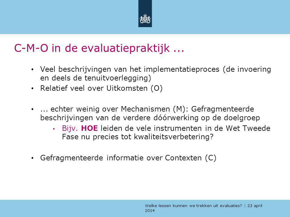 Welke lessen kunnen we trekken uit evaluaties? | 23 april 2014 C-M-O in de evaluatiepraktijk... Veel beschrijvingen van het implementatieproces (de in