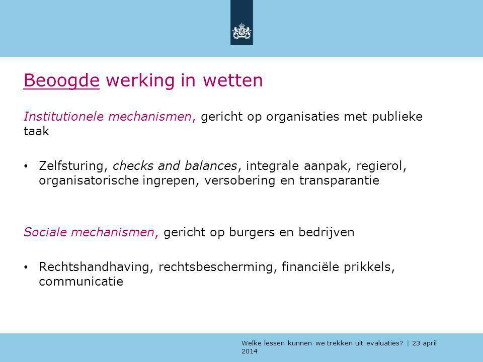 Welke lessen kunnen we trekken uit evaluaties? | 23 april 2014 Beoogde werking in wetten Institutionele mechanismen, gericht op organisaties met publi