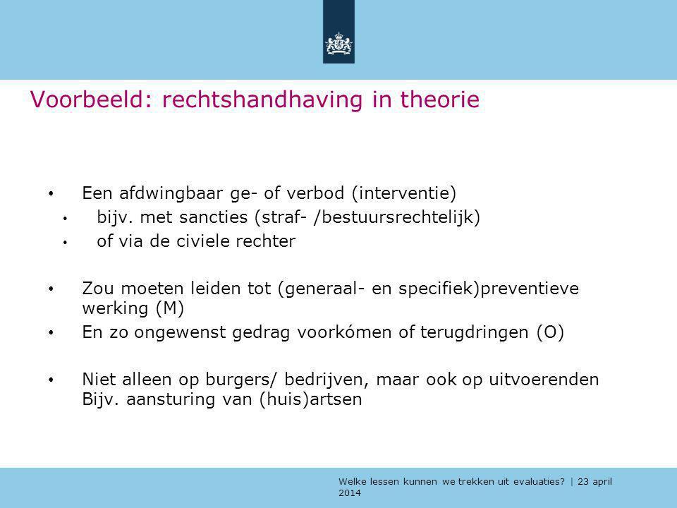 Welke lessen kunnen we trekken uit evaluaties? | 23 april 2014 Voorbeeld: rechtshandhaving in theorie Een afdwingbaar ge- of verbod (interventie) bijv