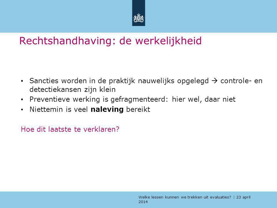 Welke lessen kunnen we trekken uit evaluaties? | 23 april 2014 Rechtshandhaving: de werkelijkheid Sancties worden in de praktijk nauwelijks opgelegd 