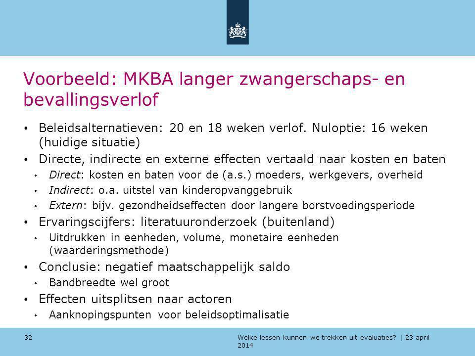 Welke lessen kunnen we trekken uit evaluaties? | 23 april 2014 Voorbeeld: MKBA langer zwangerschaps- en bevallingsverlof Beleidsalternatieven: 20 en 1