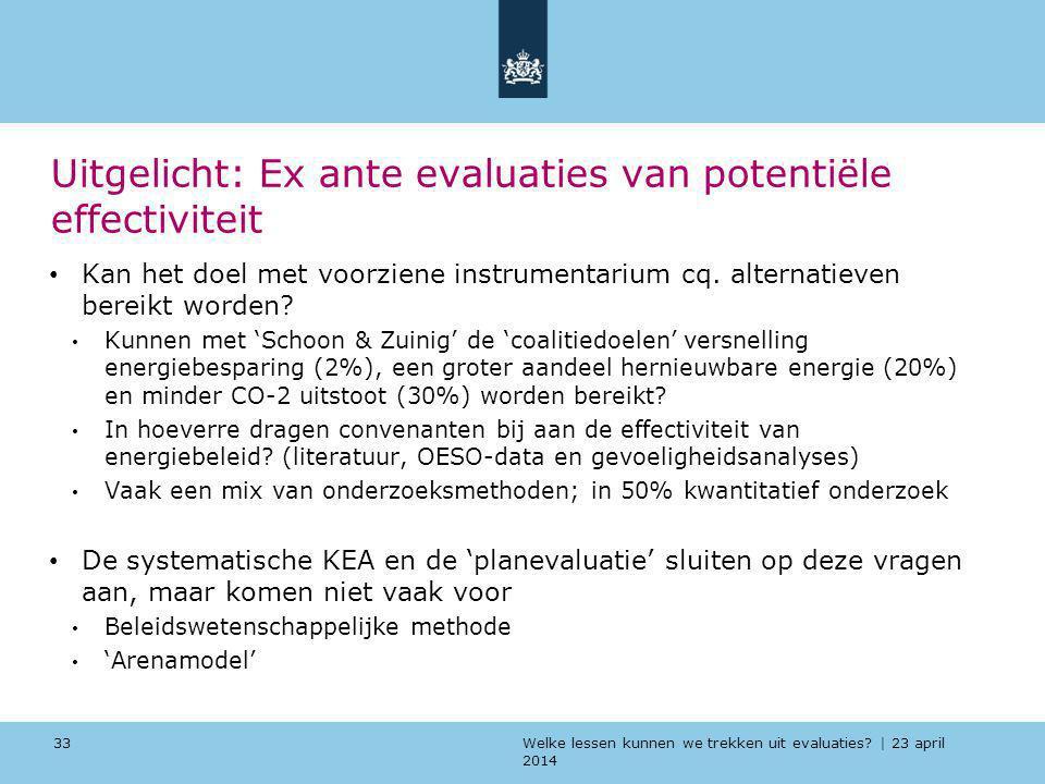 Welke lessen kunnen we trekken uit evaluaties? | 23 april 2014 Uitgelicht: Ex ante evaluaties van potentiële effectiviteit Kan het doel met voorziene