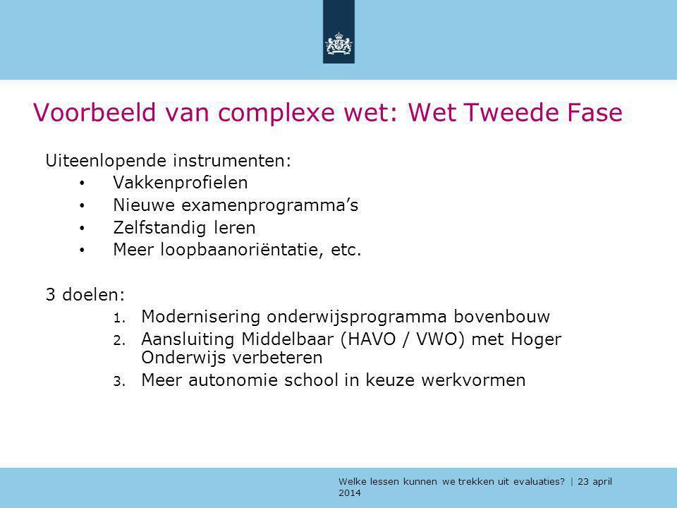 Welke lessen kunnen we trekken uit evaluaties? | 23 april 2014 Voorbeeld van complexe wet: Wet Tweede Fase Uiteenlopende instrumenten: Vakkenprofielen