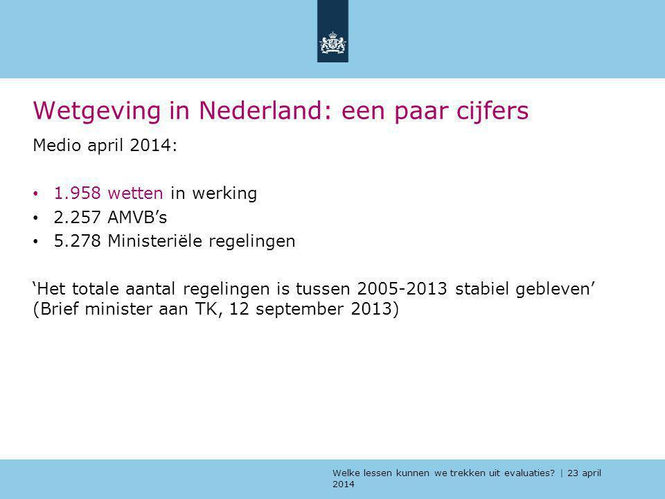 Welke lessen kunnen we trekken uit evaluaties? | 23 april 2014 Wetgeving in Nederland: een paar cijfers Medio april 2014: 1.958 wetten in werking 2.25