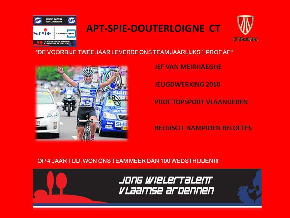 APT-SPIE-DOUTERLOIGNE CT JEF VAN MEIRHAEGHE JEUGDWERKING 2010 PROF TOPSPORT VLAANDEREN BELGISCH KAMPIOEN BELOFTES DE VOORBIJE TWEE JAAR LEVERDE ONS TEAM JAARLIJKS 1 PROF AF OP 4 JAAR TIJD, WON ONS TEAM MEER DAN 100 WEDSTRIJDEN !!!