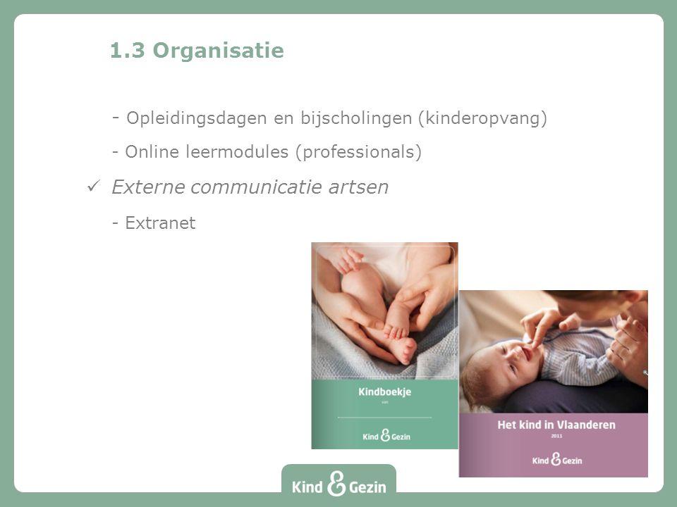 1.3 Organisatie - Opleidingsdagen en bijscholingen (kinderopvang) - Online leermodules (professionals) Externe communicatie artsen - Extranet